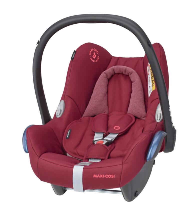 maxicosi carseat babycarseat cabriofix red essentialred 3qrtleft Group0+ Infant ISOFIX Frombirth FamilyFixOneiSize R44 3pointseatbelt